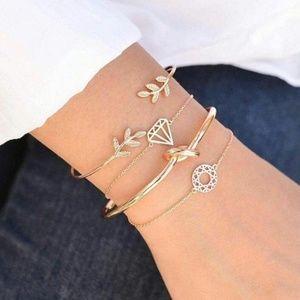 Chic Gold Bracelet Set of 4, Infinity Knot
